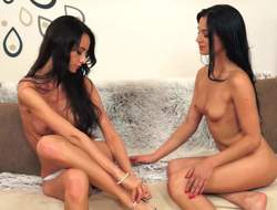 2 black haired girls both encircling perky small tits and tiny firm asses have a magic time effectuation encircling each others pink holes in this error-free scene. Watch 2 pleasing lezzies do clean out on the day-bed