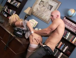 Golden-haired Blake Rose with massive melons gives gazoo upon horny as hell Johnny Sins token learn of sucking