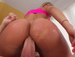Blonde wench with wet bottom gets turned on then drilled