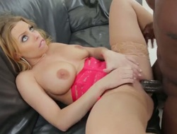 Blond Lexington Steele with giant scoops needs unornamented but a hard rod beside her cunt to get satisfaction beside steamy interracial act