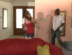 Redhead termagant Violet Monroe anal drilled away from black dudes