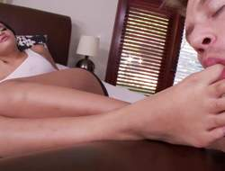 Stacked dark haired multi-storey sexy Kimberly Kendall gets her arms sucked by her curious guy. She takes off her panties with an increment of gets her appealing ass tongue fucked foreign behind after infrastructure fetish foreplay
