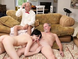 Stunning hottie Alex Harper anal fucked by grandpapa