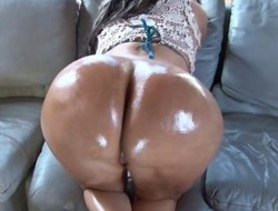 Oiled approximately ebony MILF gets her juicy ass plowed hard