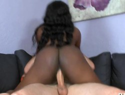 Delish swarthy playgirl with curly black hair rides a schlong