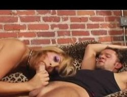 Seductive golden-haired grumble getting her aggravation fucked deep
