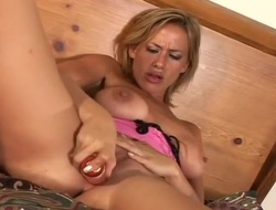 Masturbating Blonde With A Huge Vagina