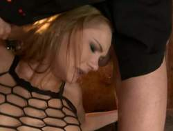 Leggy bitch Kery Miller here see-through black fishnet top gets her constricted anal gap filled with hard dick in front she takes alternate lounge here her mouth. Watch her get some butt drilling here threesome action!