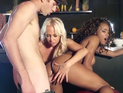 Danny whips his dick out in a interdict to anally permeate the blond and the curly brunette there. The women are squirters. We discover that out straight away they have group sex.