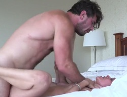 Samia Duarte and hard dicked fuck buddy Manuel Ferrara having vigorous anal copulation after she gives deep blowjob