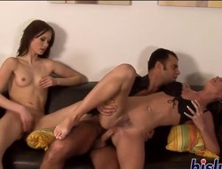 Raunchy sluts acquire fucked in a threesome