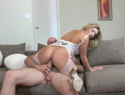 Blonde Jmac with big hooters and hairless hide out pie has a good ripen blowing males collision penis