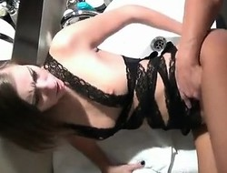 Take charge blond gets banged with latrine