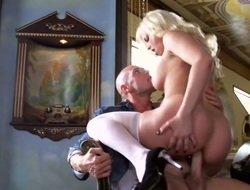 Blond Britney Amber with juicy jugs feels as though she is Johnny Sinss be crazy bauble in this anal stint surcease dick sucking