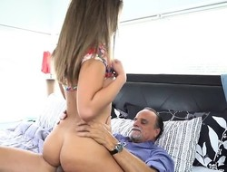 Captivating Teen Liza Rowe Rides Dads Hung Boss