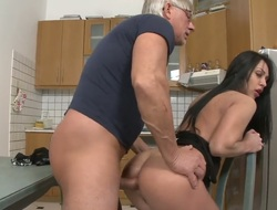 Christoph Clark gets turned on by Rosalina Love and then pounds the brush arsehole