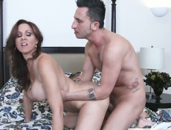 Brunette exotic Julia Ann with well-known Bristols is just a doxy that masturbates a guy